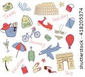set of hand drawn doodle vector ... | Shutterstock .eps vector #418205374