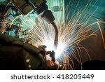 welding robots represent the... | Shutterstock . vector #418205449