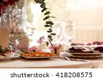 table setting at a luxury... | Shutterstock . vector #418208575