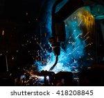 welding robots movement in a... | Shutterstock . vector #418208845