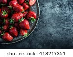 top of view fresh strawberry in ...   Shutterstock . vector #418219351