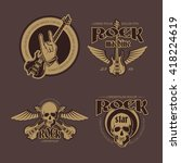rock and roll color vintage... | Shutterstock .eps vector #418224619