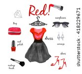red black dress fashion outfit... | Shutterstock . vector #418229671