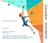 training climbing wall with... | Shutterstock .eps vector #418232551