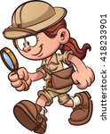 cartoon safari girl looking... | Shutterstock .eps vector #418233901