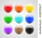 set of colored round buttons | Shutterstock .eps vector #418235617