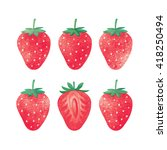 set of strawberries. different... | Shutterstock . vector #418250494