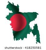 vector bangladesh flag blowing...   Shutterstock .eps vector #418250581