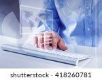 man surfing the internet  | Shutterstock . vector #418260781