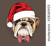 bulldog portrait in a santas...   Shutterstock .eps vector #418260925