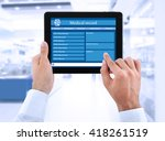 medical tablet in doctor hands... | Shutterstock . vector #418261519
