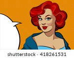 smiling retro woman with a red...