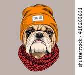 Bulldog Portrait In A Hipster...