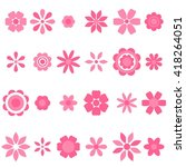 pink cute flowers set. raster... | Shutterstock . vector #418264051