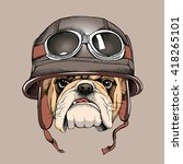 bulldog portrait in a retro... | Shutterstock .eps vector #418265101