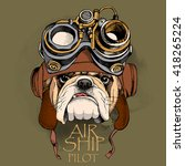 bulldog portrait in a steampunk ... | Shutterstock .eps vector #418265224