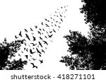 bird wedge and trees... | Shutterstock .eps vector #418271101