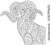 zentangle stylized cartoon goat ... | Shutterstock .eps vector #418290601