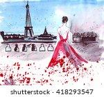 Illustration Sketch Girl In Th...