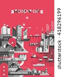 infographic   city on a red... | Shutterstock .eps vector #418296199