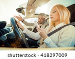 woman driving a car and typing... | Shutterstock . vector #418297009