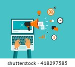 on line video marketing... | Shutterstock .eps vector #418297585