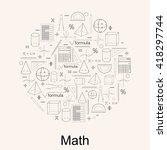 set of math icons. linear style.... | Shutterstock .eps vector #418297744
