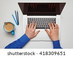 man working with laptop. top... | Shutterstock . vector #418309651
