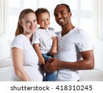 happy mixed race family.... | Shutterstock . vector #418310245