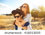 young beautiful loving couple... | Shutterstock . vector #418313035
