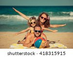 happy family having fun on the... | Shutterstock . vector #418315915