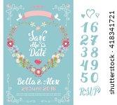 wedding floral invitation cards....   Shutterstock .eps vector #418341721