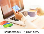 e commerce concept. woman with... | Shutterstock . vector #418345297