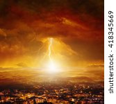 Small photo of Apocalyptic background - judgment day, end of world, huge powerful lightning hits city from red glowing skies