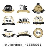 retro graduation 2016 badges ... | Shutterstock .eps vector #418350091