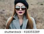beautiful girl in sunglasses | Shutterstock . vector #418353289