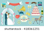 flat colored wedding icon set...