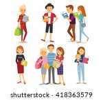 people read  students with books | Shutterstock .eps vector #418363579