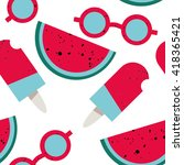 summer seamless vector pattern. ... | Shutterstock .eps vector #418365421