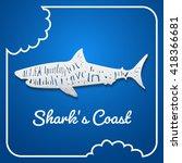 flat paper style shark | Shutterstock .eps vector #418366681