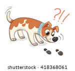 dog sniffing traces of human.... | Shutterstock .eps vector #418368061