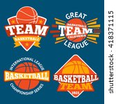set of basketball labels with... | Shutterstock .eps vector #418371115