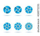 six segmented circles on white... | Shutterstock .eps vector #418372231