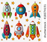 cartoon spaceship isolated on... | Shutterstock .eps vector #418374151