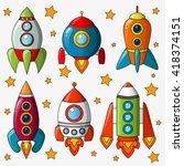 cartoon spaceship isolated on... | Shutterstock .eps vector #418374151
