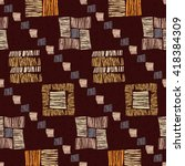 geometric brown ethnic seamless ... | Shutterstock .eps vector #418384309