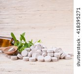 medicine herb. herbal pills... | Shutterstock . vector #418395271