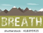 mountains with green field blue ... | Shutterstock .eps vector #418395925