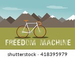 mountains with green field ... | Shutterstock .eps vector #418395979