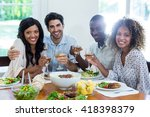 two couples holding wine glass... | Shutterstock . vector #418398379